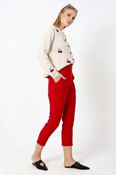 ZİNDİ Kadın Düğmeli Kumaş Pantolonu Kırmızı