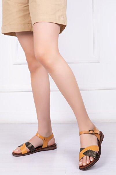 Deripabuc Hakiki Deri Havana Kadın Deri Sandalet Dp-0079