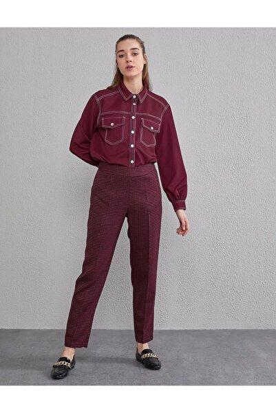 Kayra Kaz Ayağı Desenli Pantolon Kırmızı / Mürdüm A20 19205