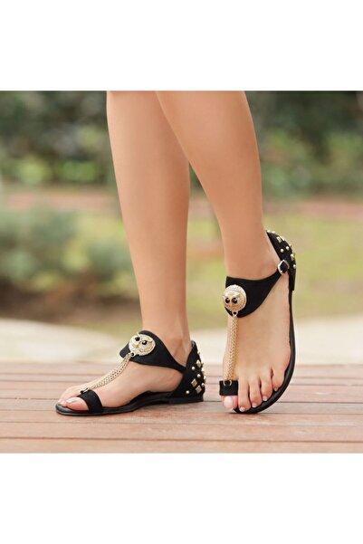 Ayakkabı Delisiyim Lilya Süet Siyah Baykuşlu Parmak Arası Sandalet