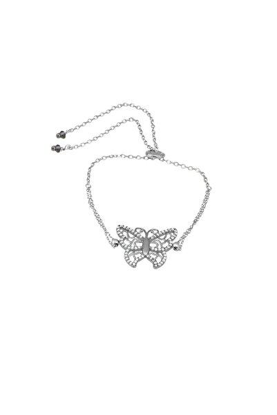 So CHIC... Kelebek Figürlü Rodyum Kaplama Asansörlü Gümüş Bileklik