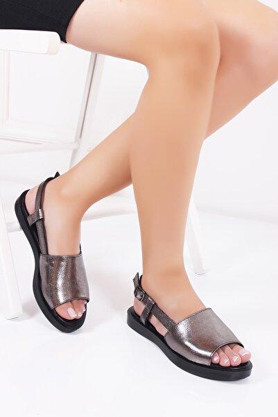 Deripabuc Hakiki Deri Platin Kadın Deri Sandalet Dp26-0561
