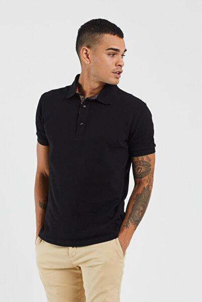 TBASIC Erkek Siyah Şal Desen Polo Yaka Tişört