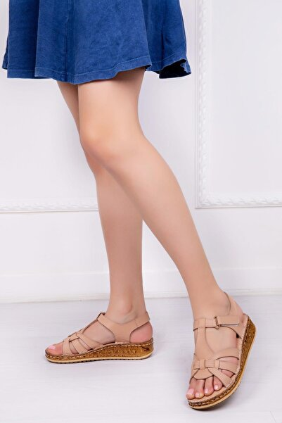 Deripabuc Hakiki Deri Bej Kadın Deri Sandalet Dp16-0304