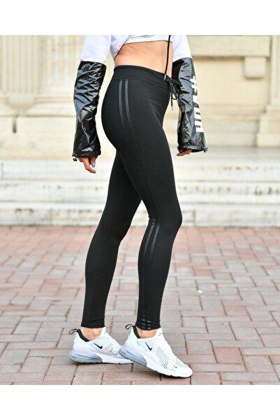 Grenj Fashion Siyah Yanı Çift Deri Şeritli Kordon Bağlamalı Yüksek Bel Toparlayıcı Kışlık Tayt
