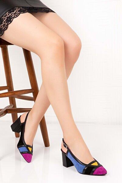 Gondol Hakiki Deri Renkli Tar Topuklu Ayakkabı Şhn.75 - Fuşya - 39