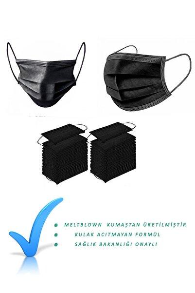 NUTRİA Medikal Maske Siyah 100 Adet Meltblown Kumaş