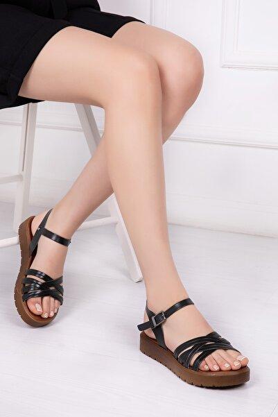 Deripabuc Hakiki Deri Siyah Kadın Deri Sandalet Dp-1013