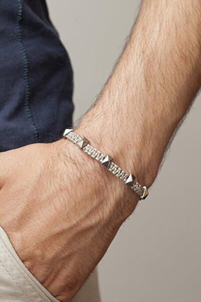 Gümüş Tezgahi Dikdörtgen Kesim Gümüş Renk Hematit Doğaltaş Erkek Bileklik