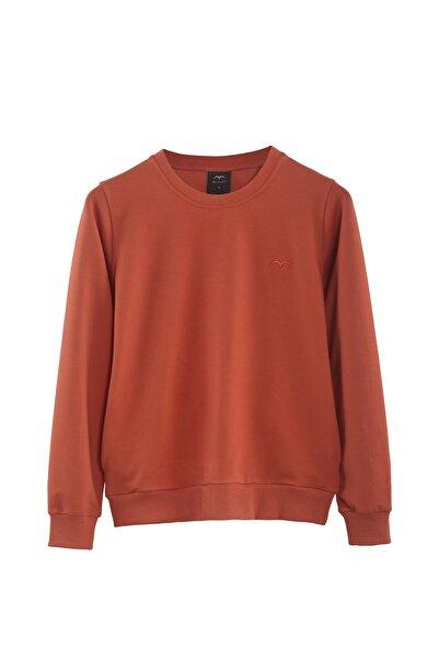 Minimalist Kadın Turuncu Basic Sweatshirt