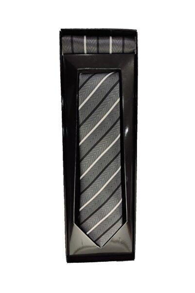 Elegante Cravatte Unisex Gri Çizgili Desen Dokuma Kravat ve Mendil