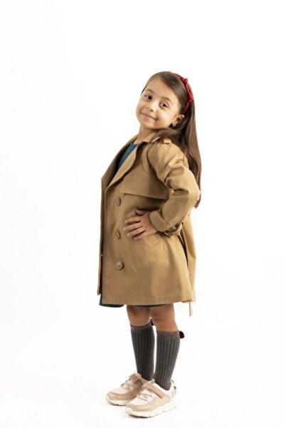 hoQuspoQus Kız Çocuk Trençkot Taba