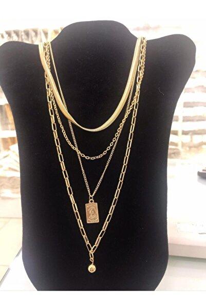 kokoStyle Gold Çeşitli Zincirler Ve Gold Madalyon Uçlu Çoklu Kolye