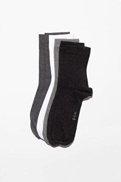 6'li Paket Unisex Basıc Soket Çorap- Siyah/ Beyaz / Grı