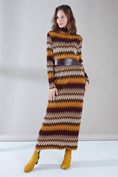 Zühre Deri Kemer Detaylı Elbise Hardal E-0096
