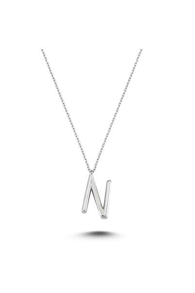 Bulvardi Harfli Gümüş Kolye Gümüş Rengi - N Harfi - Standart - Alv005-2024