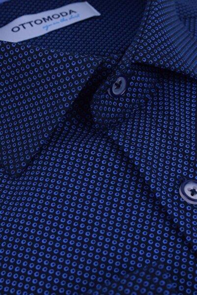 Ottomoda Uzun Kollu Desenli Gömlek Lacivert-mavi
