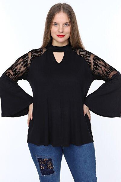 1fazlası Kadın Büyük Beden Siyah Ispanyol Kol Bluz