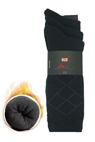 Erkek 3'lü Kışlık Termal Çorap Siyah Yıkamalı Pamuklu