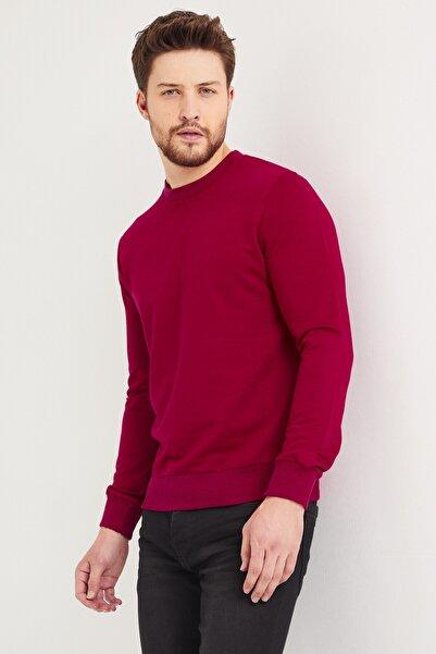 DENSMOOD Pamuklu Bisiklet Yaka Kırmızı Sweatshirt