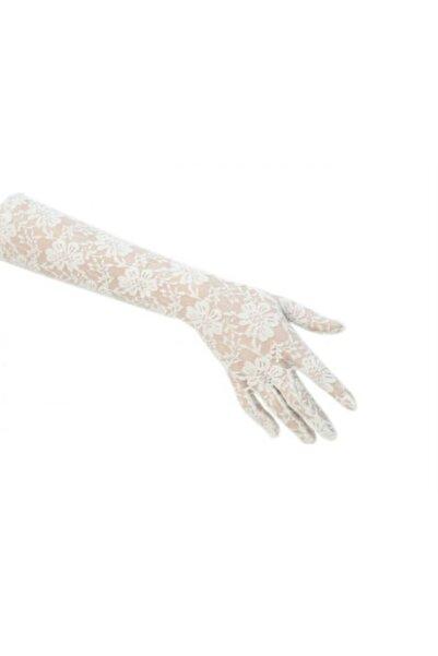 Beyaz gelincil Dantelli Gelin Eldiveni - Beyaz Uzun