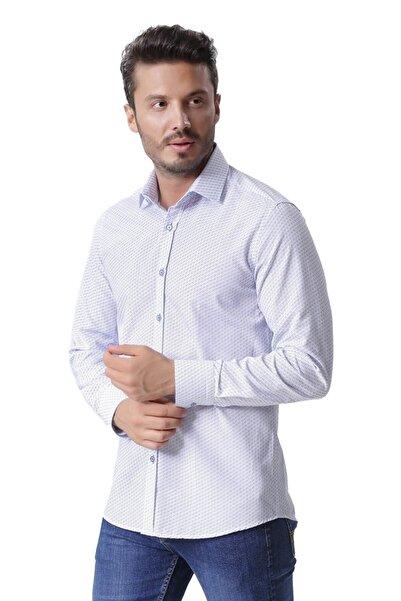 Ottomoda Uzun Kollu Desenli Gömlek Saks-beyaz