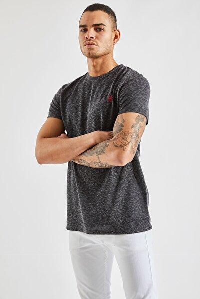 Zafoni Erkek Siyah Nopeli O Yaka Nakışlı T-shirt