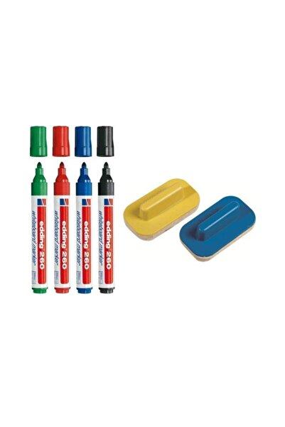 Edding 260 Silinebilir Yazı Tahtası Kalemi 4'lü +2 Tahta Silgisi