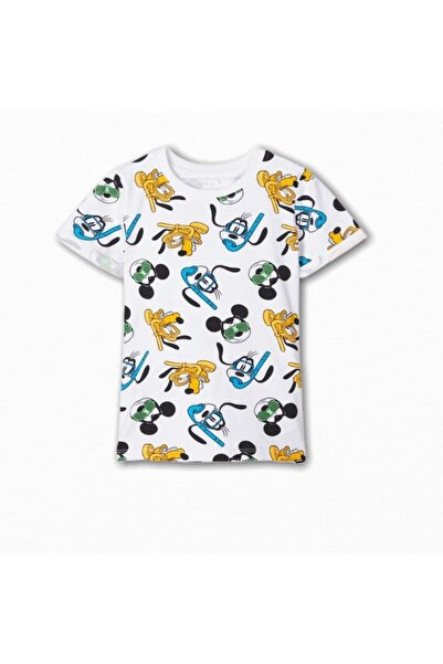 name ıt Erkek Çocuk Beyaz Disney Mickey Baskılı T-Shirt