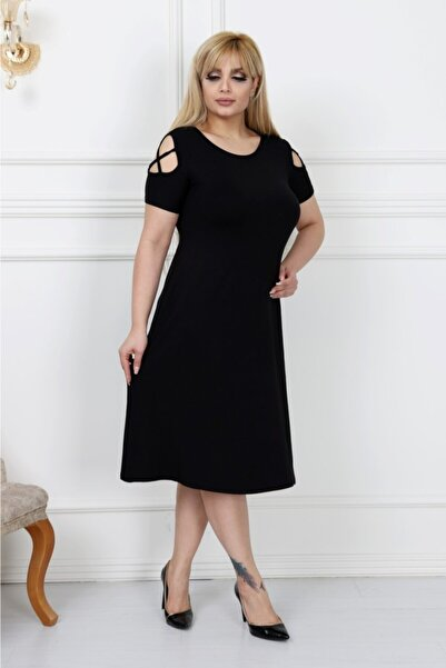 LİKRA Kadın Siyah Büyük Beden Kolları Çapraz Biye Lı Viskon Elbise