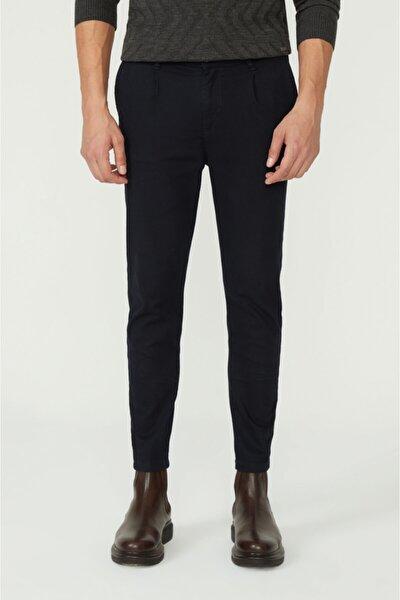 Avva Erkek Lacivert Yandan Cepli Pileli Düz Slim Fit Pantolon A02y3026