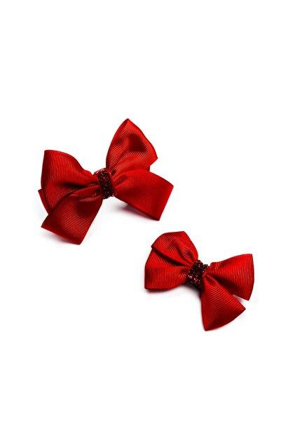 Lovesome Handmade Yeniyıl Hediyesi Kırmızı Anne Kız Fiyonk Yılbaşı Tokası Çocuk Ve Yetişkin Toka Seti