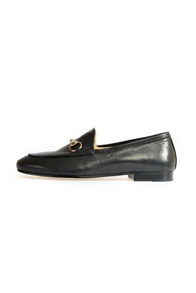 Flower Siyah Toka Detaylı Düz Ayakkabı