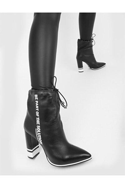 İLVİ Sura Hakiki Deri Kadın Siyah Topuklu Bot