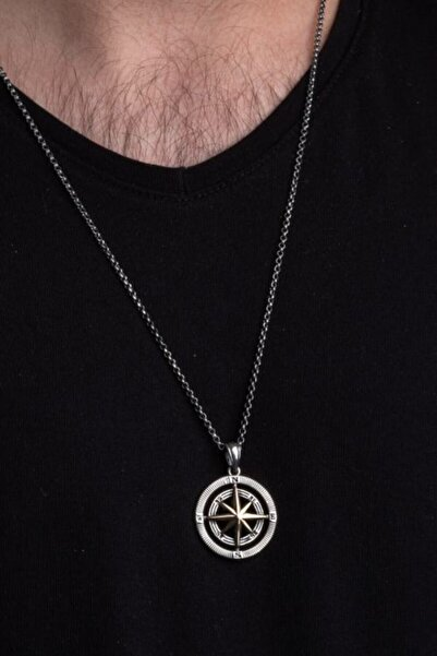 CAN SİLVER 925 Ayar Gümüş Pusula Erkek Kolye Kalın Zincirli