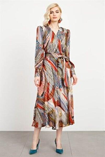 Kadın Desenli Kruvaze Volanlı Elbise