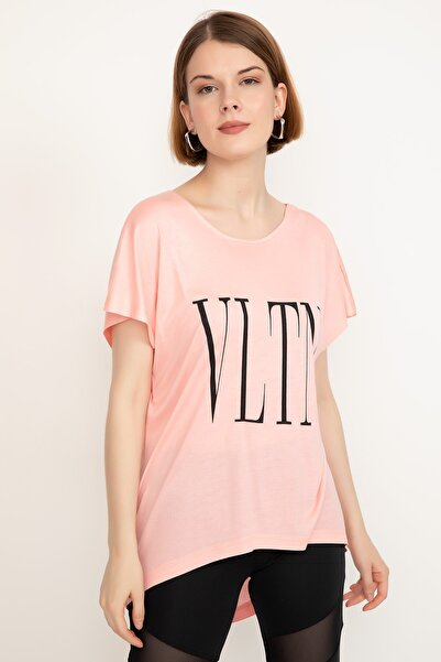Mercan Baskılı T-shirt Pudra - Lxl