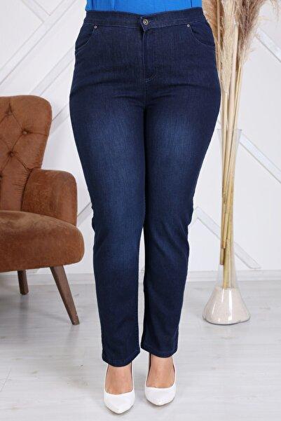 RMG Beli Lastikli Büyük Beden Koyu Lacivert Kot Pantolon