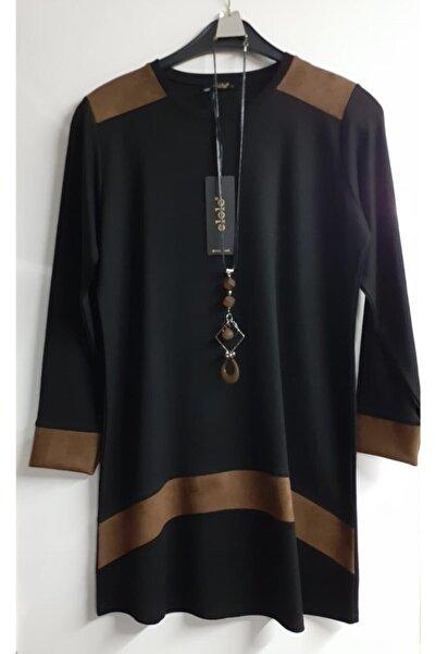 Elele Kadın Siyah Süet Detaylı Tunik