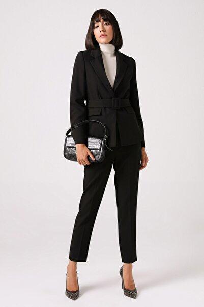 Gusto Beli Kemerli Blazer Ceket - Siyah