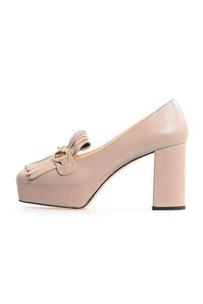 Flower Vizon Kalın Topuklu Önden Püsküllü Ayakkabı