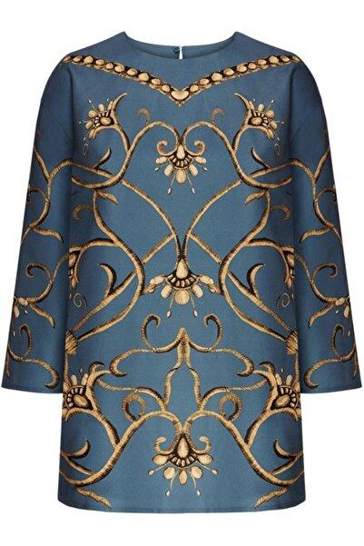 Faberlic Mavi Ampir Desenli Bluz 34 Beden