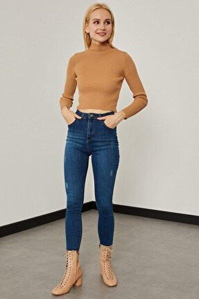 Taşlanmış Yüksek Bel Pantolon - Yeşil Tint