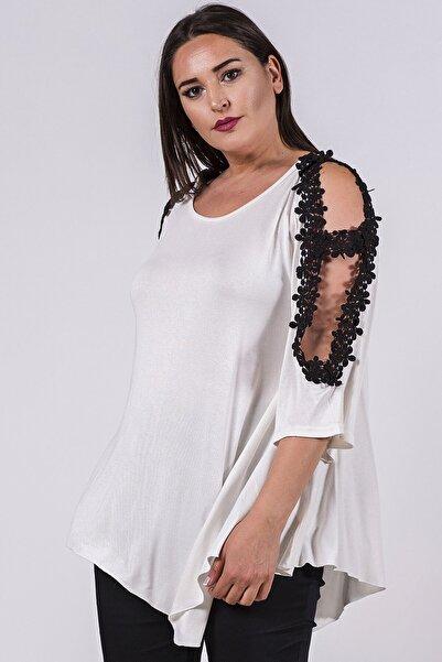 Womenice Büyük Beden Beyaz Kol Açık Çiçekli Tunik