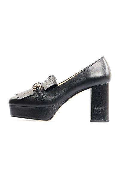 Flower Siyah Kalın Topuklu Önden Püsküllü Ayakkabı