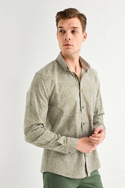 Avva Erkek Haki Baskılı Alttan Britli Yaka Slim Fit Gömlek A01y2007