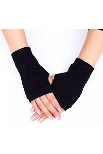 Nishstyle Kadın Aksesuar Siyah Renk Başparmaktan Geçmeli Koton Kumaş Parmaksız Mini Eldiven