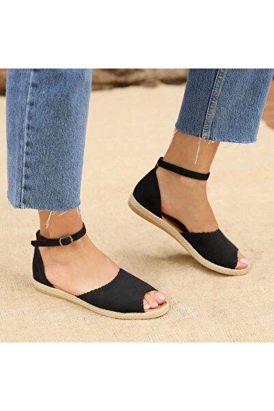 Ayakkabı Delisiyim Kinaye Süet Siyah Burnu Açık Kadın Sandalet