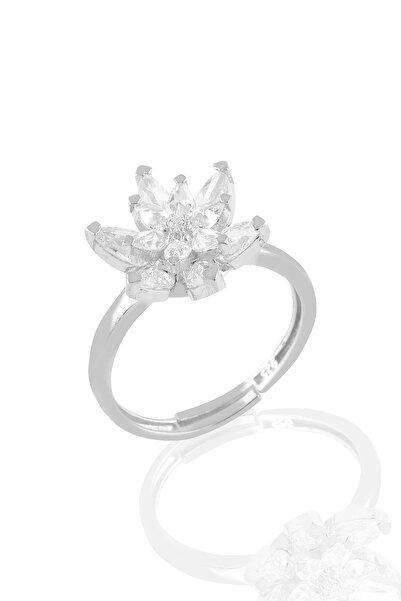 Söğütlü Silver Gümüş Rodyumlu Taşlı Nilüfer Lotus Çiçeği Yüzük
