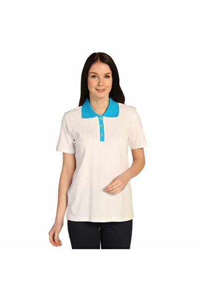 Solo Beyaz Polo Yaka Pike Kadın %100 Pamuk T-shirt
